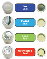 Examples of good, partial and failed induction seals